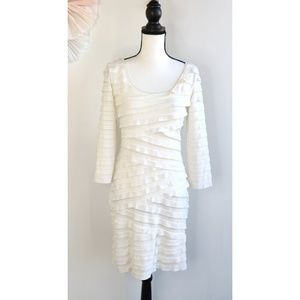 New Max Edition White/Ivory Ruffle Fitted Dress